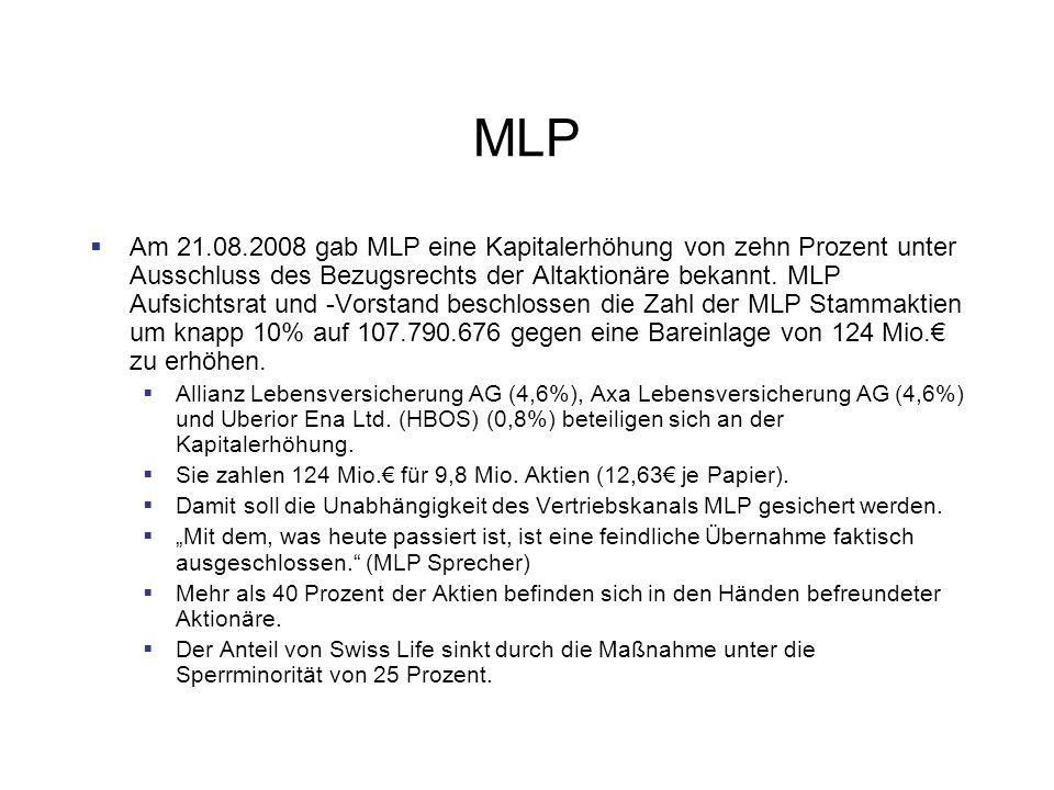 MLP Am 21.08.2008 gab MLP eine Kapitalerhöhung von zehn Prozent unter Ausschluss des Bezugsrechts der Altaktionäre bekannt.
