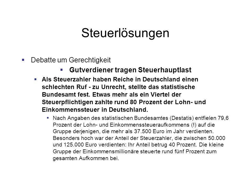 Steuerlösungen Debatte um Gerechtigkeit Gutverdiener tragen Steuerhauptlast Als Steuerzahler haben Reiche in Deutschland einen schlechten Ruf - zu Unrecht, stellte das statistische Bundesamt fest.