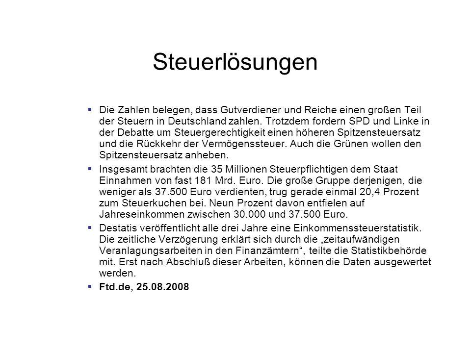 Steuerlösungen Die Zahlen belegen, dass Gutverdiener und Reiche einen großen Teil der Steuern in Deutschland zahlen.
