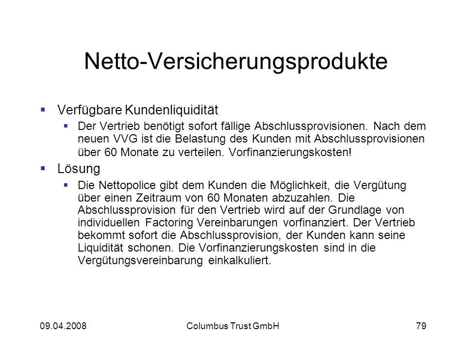 09.04.2008Columbus Trust GmbH79 Netto-Versicherungsprodukte Verfügbare Kundenliquidität Der Vertrieb benötigt sofort fällige Abschlussprovisionen.
