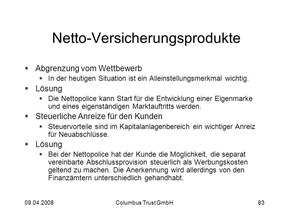 09.04.2008Columbus Trust GmbH83 Netto-Versicherungsprodukte Abgrenzung vom Wettbewerb In der heutigen Situation ist ein Alleinstellungsmerkmal wichtig.