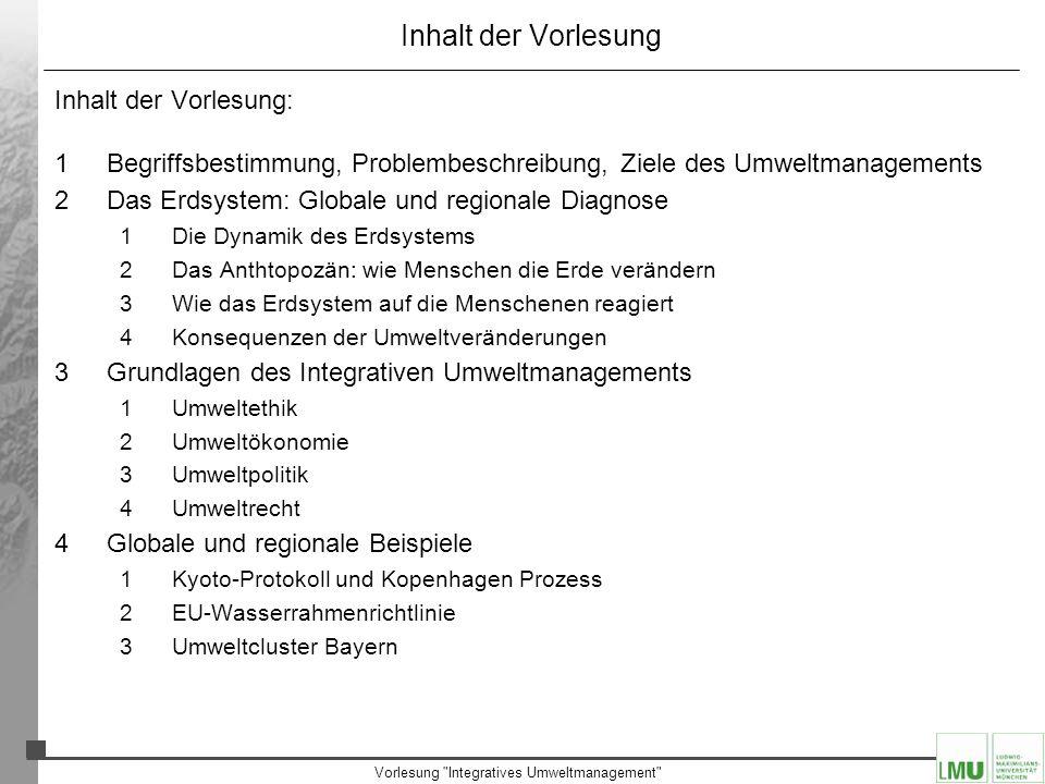 Vorlesung Integratives Umweltmanagement Das Erdsystem Was zeigen die Meßwerte: –Proxies für die lokale Temperatur, z.B.