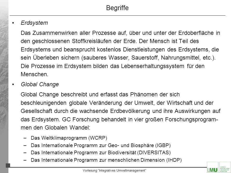 Vorlesung Integratives Umweltmanagement Das Erdsystem Die hauptsächlichen Phasen liegen bei: –ca.