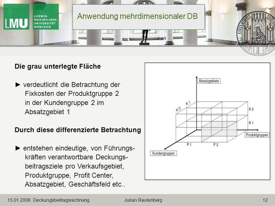 1215.01.2008: Deckungsbeitragsrechnung Julian Rautenberg Anwendung mehrdimensionaler DB Die grau unterlegte Fläche verdeutlicht die Betrachtung der Fi