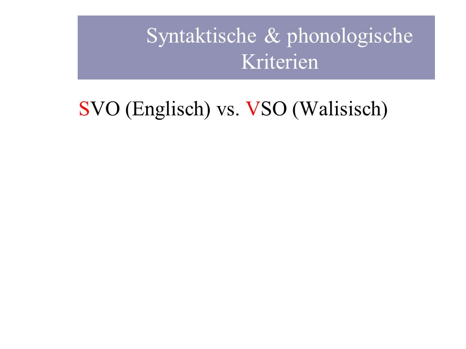 SVO (Englisch) vs. VSO (Walisisch) Syntaktische & phonologische Kriterien