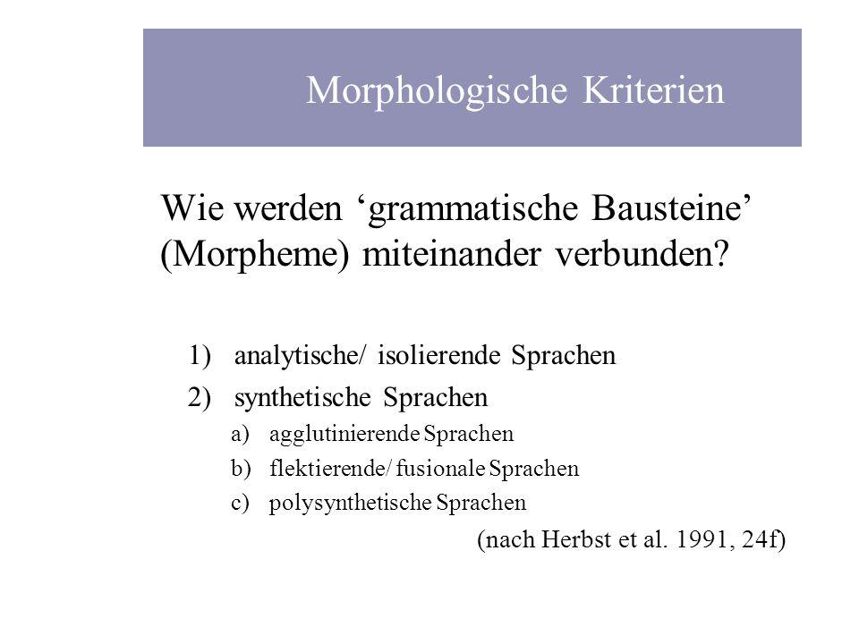 Wie werden grammatische Bausteine (Morpheme) miteinander verbunden? 1)analytische/ isolierende Sprachen 2)synthetische Sprachen a)agglutinierende Spra