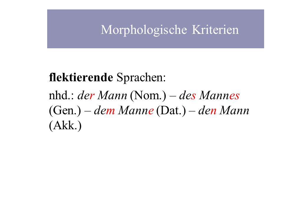 flektierende Sprachen: nhd.: der Mann (Nom.) – des Mannes (Gen.) – dem Manne (Dat.) – den Mann (Akk.) Morphologische Kriterien
