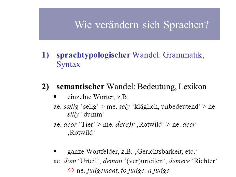 1)sprachtypologischer Wandel: Grammatik, Syntax 2)semantischer Wandel: Bedeutung, Lexikon einzelne Wörter, z.B. ae. s æ lig selig > me. sely kläglich,