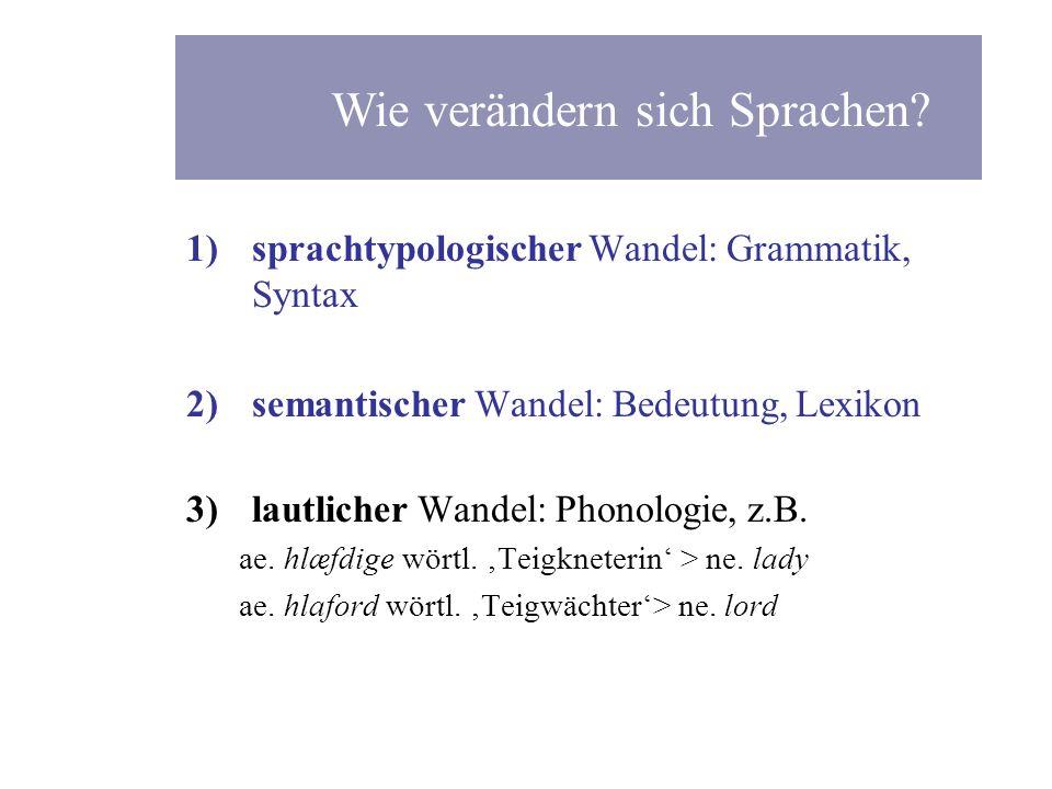 1)sprachtypologischer Wandel: Grammatik, Syntax 2)semantischer Wandel: Bedeutung, Lexikon 3)lautlicher Wandel: Phonologie, z.B. ae. hl æ fdige wörtl.