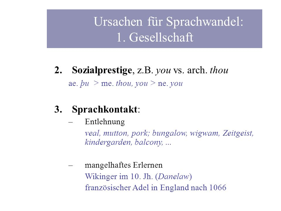 2.Sozialprestige, z.B. you vs. arch. thou ae. þ u > me. thou, you > ne. you 3.Sprachkontakt: –Entlehnung veal, mutton, pork; bungalow, wigwam, Zeitgei