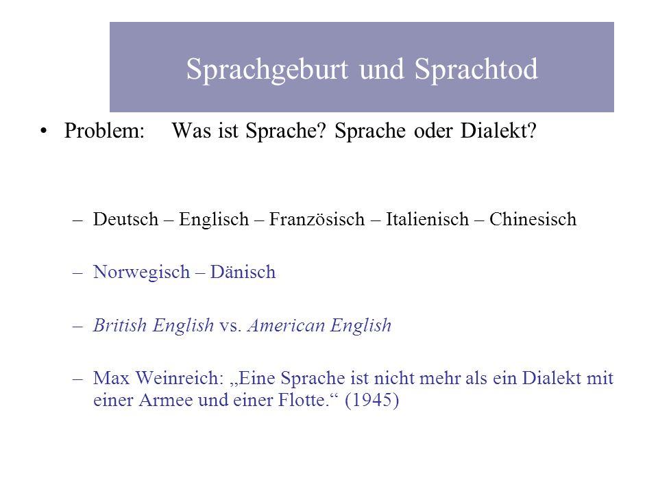 Sprachgeburt und Sprachtod Problem: Was ist Sprache? Sprache oder Dialekt? –Deutsch – Englisch – Französisch – Italienisch – Chinesisch –Norwegisch –