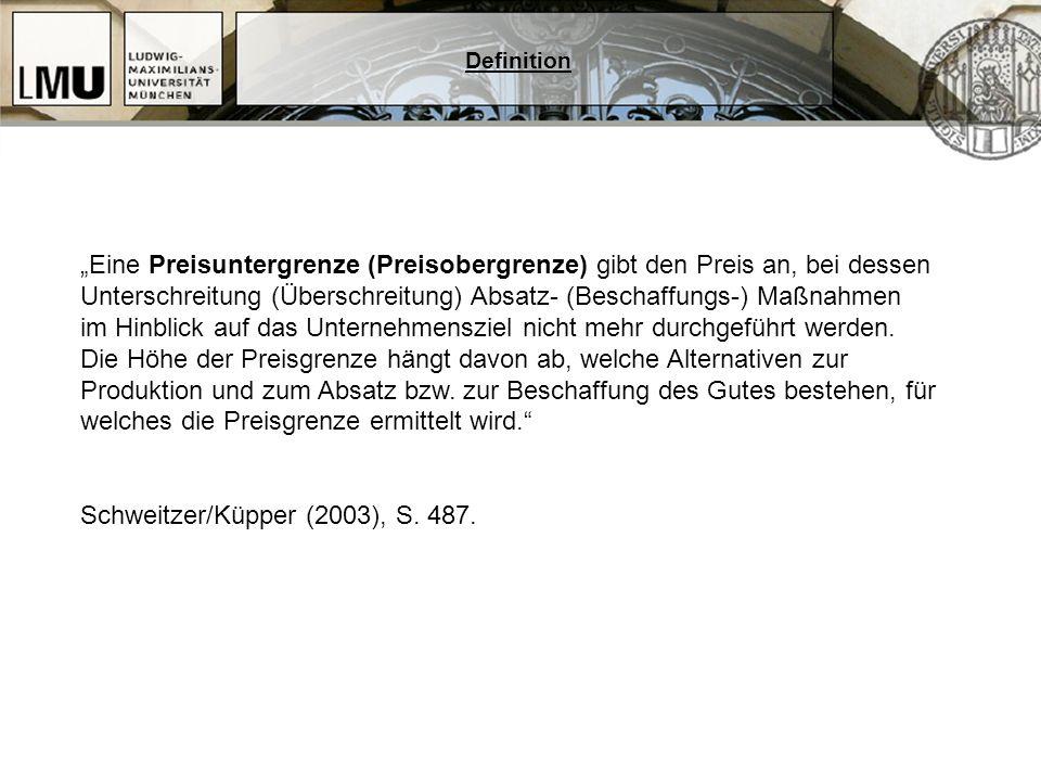 Systematik der Preisgrenzen ja Preisgrenze Preisobergrenze (POG) Einsatzgüter Preisuntergrenze (PUG) Absatzgüter Preisüberschreitung: p > POG.