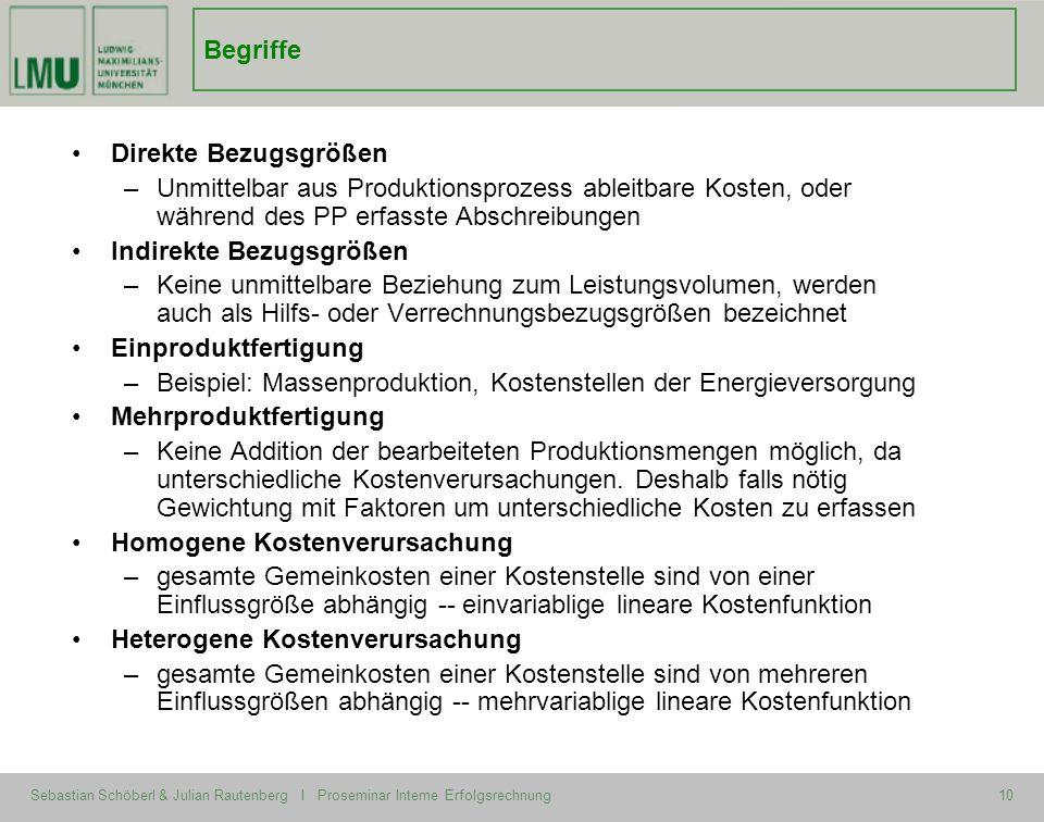 Sebastian Schöberl & Julian Rautenberg I Proseminar Interne Erfolgsrechnung10 Begriffe Direkte Bezugsgrößen –Unmittelbar aus Produktionsprozess ableit