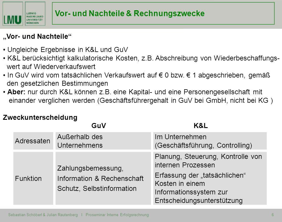 Sebastian Schöberl & Julian Rautenberg I Proseminar Interne Erfolgsrechnung6 Vor- und Nachteile & Rechnungszwecke Vor- und Nachteile Ungleiche Ergebni