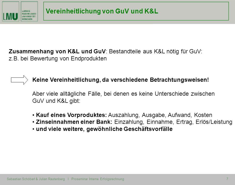 Sebastian Schöberl & Julian Rautenberg I Proseminar Interne Erfolgsrechnung7 Zusammenhang von K&L und GuV: Bestandteile aus K&L nötig für GuV: z.B. be