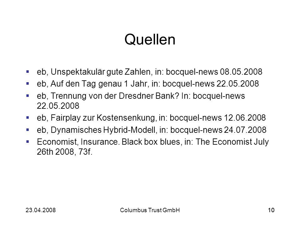1023.04.2008Columbus Trust GmbH10 Quellen eb, Unspektakulär gute Zahlen, in: bocquel-news 08.05.2008 eb, Auf den Tag genau 1 Jahr, in: bocquel-news 22