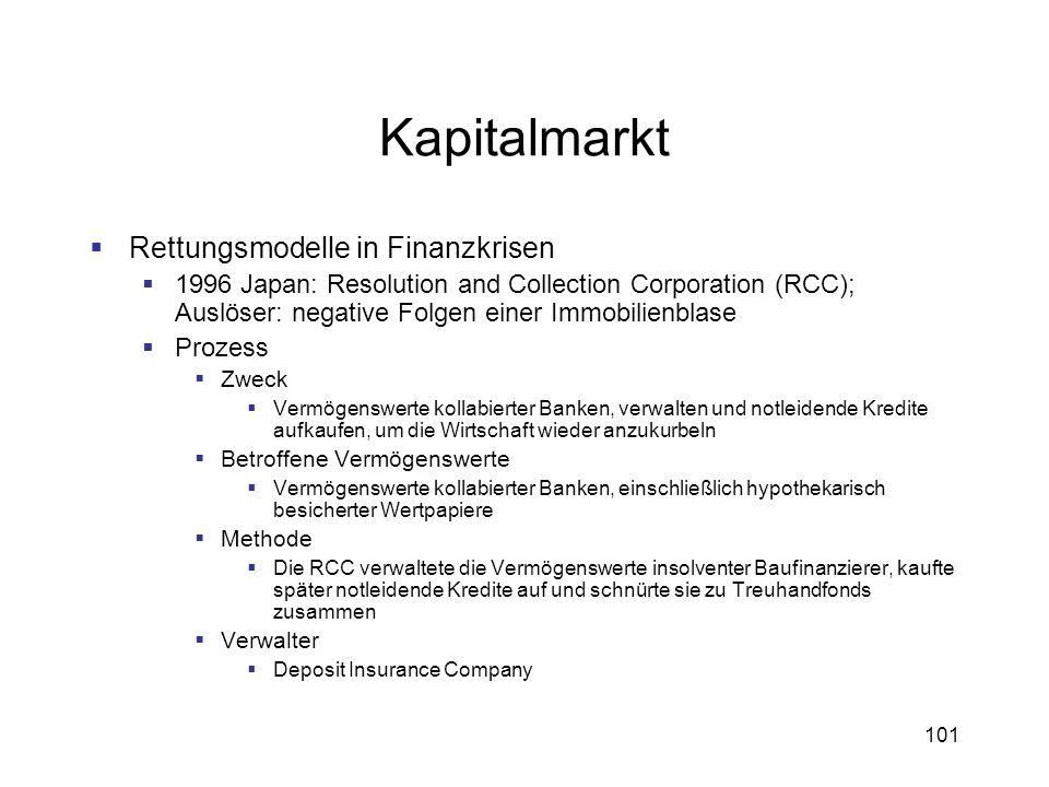 101 Kapitalmarkt Rettungsmodelle in Finanzkrisen 1996 Japan: Resolution and Collection Corporation (RCC); Auslöser: negative Folgen einer Immobilienbl