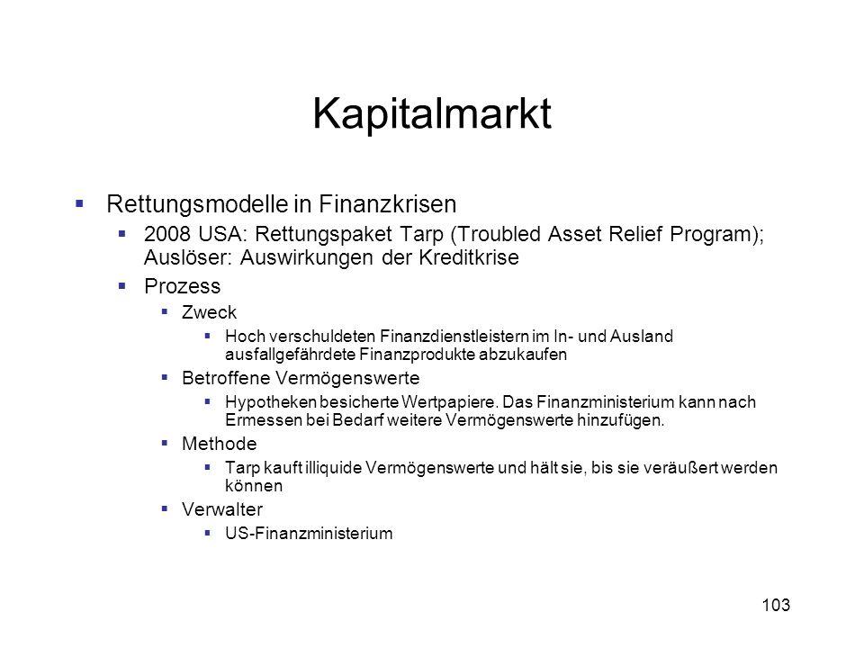 103 Kapitalmarkt Rettungsmodelle in Finanzkrisen 2008 USA: Rettungspaket Tarp (Troubled Asset Relief Program); Auslöser: Auswirkungen der Kreditkrise