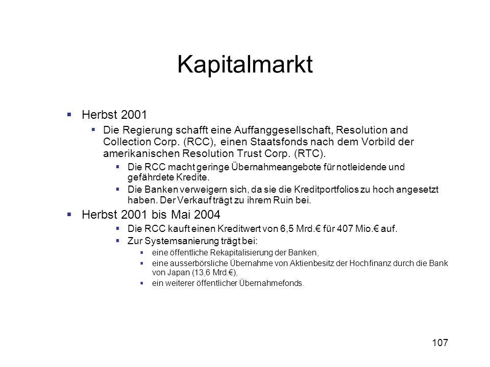 107 Kapitalmarkt Herbst 2001 Die Regierung schafft eine Auffanggesellschaft, Resolution and Collection Corp. (RCC), einen Staatsfonds nach dem Vorbild