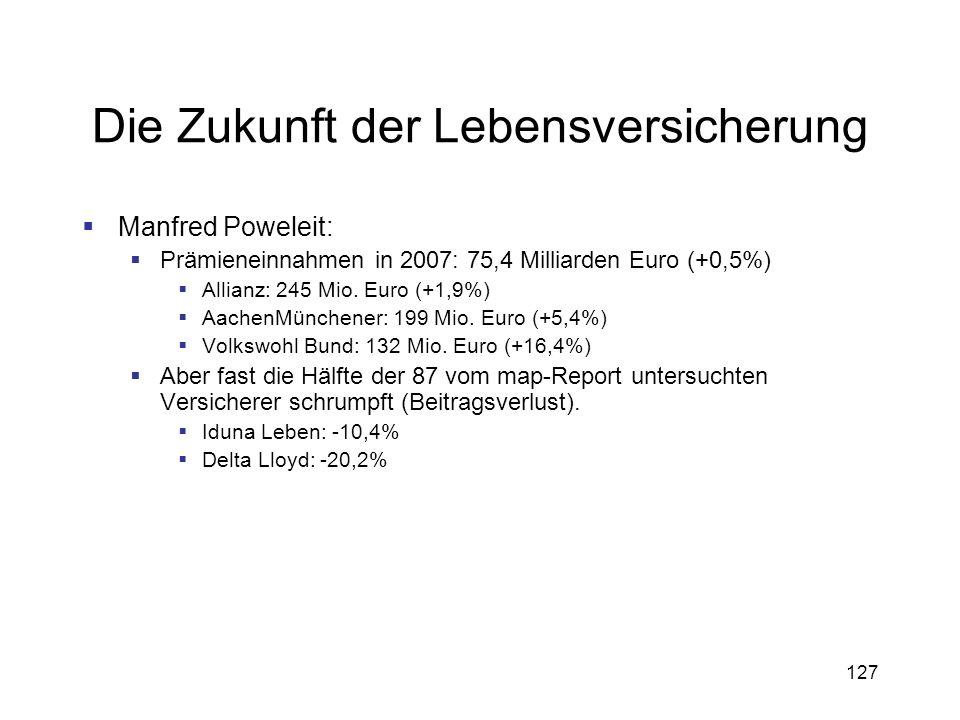 127 Die Zukunft der Lebensversicherung Manfred Poweleit: Prämieneinnahmen in 2007: 75,4 Milliarden Euro (+0,5%) Allianz: 245 Mio. Euro (+1,9%) AachenM