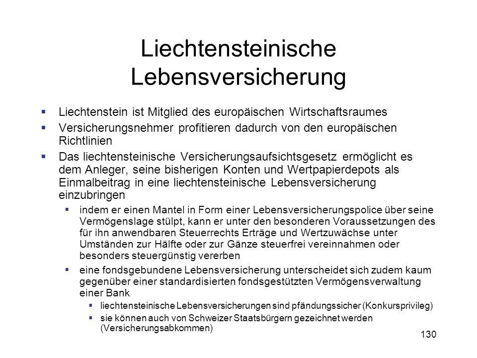 130 Liechtensteinische Lebensversicherung Liechtenstein ist Mitglied des europäischen Wirtschaftsraumes Versicherungsnehmer profitieren dadurch von de