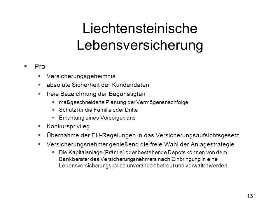 131 Liechtensteinische Lebensversicherung Pro Versicherungsgeheimnis absolute Sicherheit der Kundendaten freie Bezeichnung der Begünstigten maßgeschne