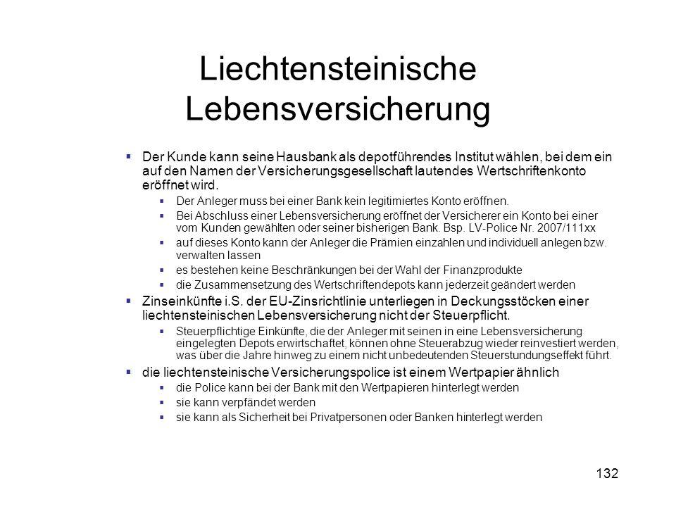 132 Liechtensteinische Lebensversicherung Der Kunde kann seine Hausbank als depotführendes Institut wählen, bei dem ein auf den Namen der Versicherung