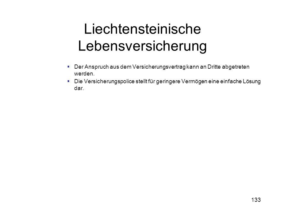 133 Liechtensteinische Lebensversicherung Der Anspruch aus dem Versicherungsvertrag kann an Dritte abgetreten werden. Die Versicherungspolice stellt f