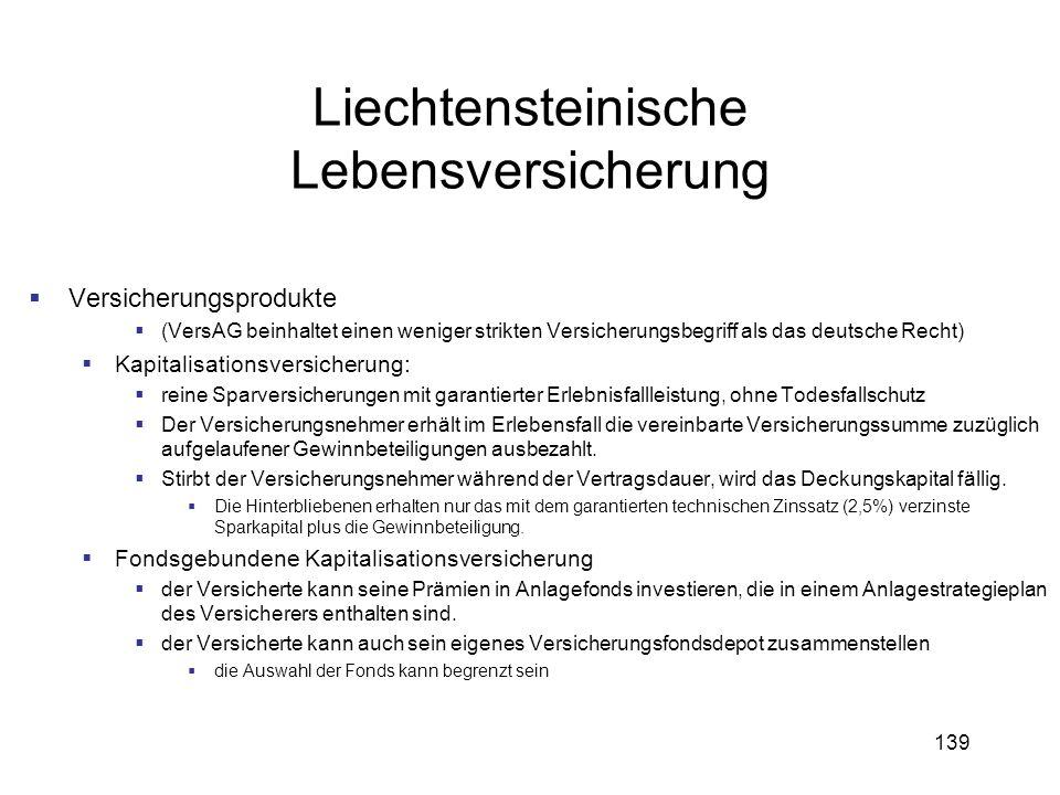 139 Liechtensteinische Lebensversicherung Versicherungsprodukte (VersAG beinhaltet einen weniger strikten Versicherungsbegriff als das deutsche Recht)