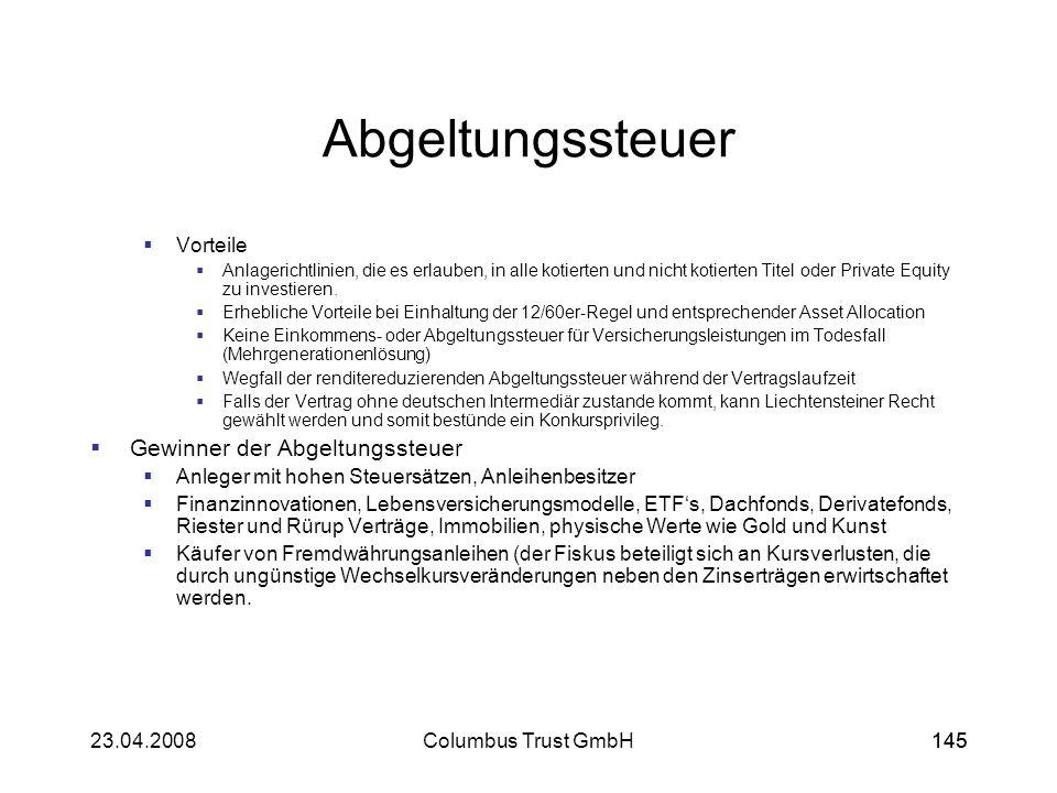 14523.04.2008Columbus Trust GmbH145 Abgeltungssteuer Vorteile Anlagerichtlinien, die es erlauben, in alle kotierten und nicht kotierten Titel oder Pri