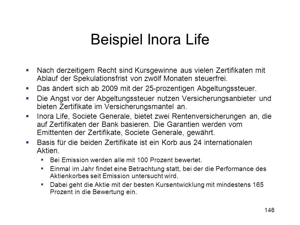146 Beispiel Inora Life Nach derzeitigem Recht sind Kursgewinne aus vielen Zertifikaten mit Ablauf der Spekulationsfrist von zwölf Monaten steuerfrei.