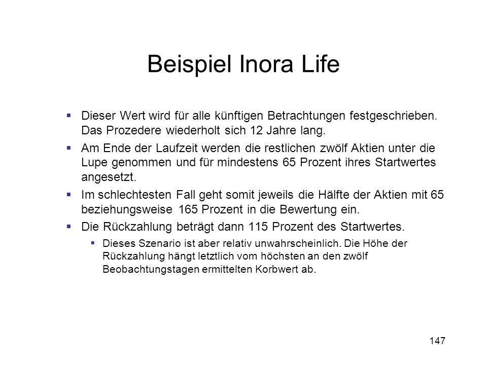 147 Beispiel Inora Life Dieser Wert wird für alle künftigen Betrachtungen festgeschrieben. Das Prozedere wiederholt sich 12 Jahre lang. Am Ende der La