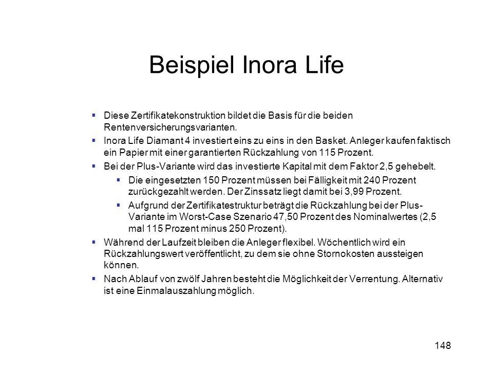148 Beispiel Inora Life Diese Zertifikatekonstruktion bildet die Basis für die beiden Rentenversicherungsvarianten. Inora Life Diamant 4 investiert ei