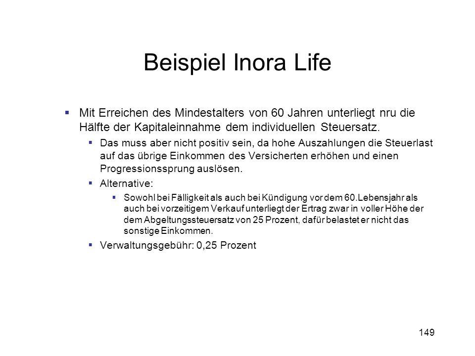 149 Beispiel Inora Life Mit Erreichen des Mindestalters von 60 Jahren unterliegt nru die Hälfte der Kapitaleinnahme dem individuellen Steuersatz. Das