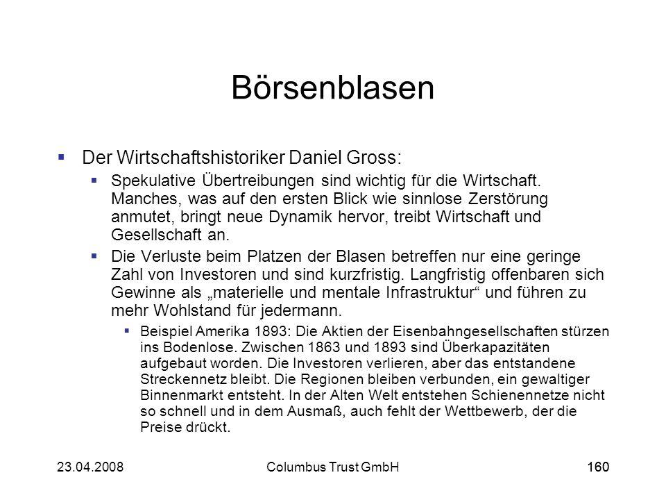 16023.04.2008Columbus Trust GmbH160 Börsenblasen Der Wirtschaftshistoriker Daniel Gross: Spekulative Übertreibungen sind wichtig für die Wirtschaft. M