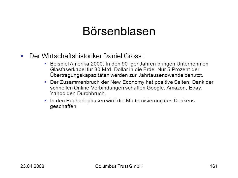 16123.04.2008Columbus Trust GmbH161 Börsenblasen Der Wirtschaftshistoriker Daniel Gross: Beispiel Amerika 2000: In den 90-iger Jahren bringen Unterneh