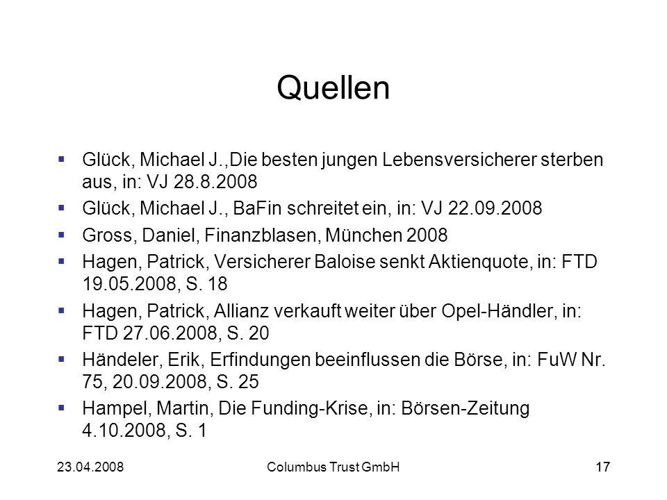 1723.04.2008Columbus Trust GmbH17 Quellen Glück, Michael J.,Die besten jungen Lebensversicherer sterben aus, in: VJ 28.8.2008 Glück, Michael J., BaFin