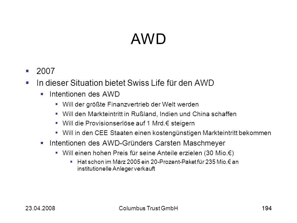 19423.04.2008Columbus Trust GmbH194 AWD 2007 In dieser Situation bietet Swiss Life für den AWD Intentionen des AWD Will der größte Finanzvertrieb der