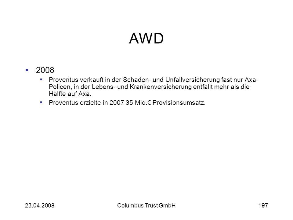 19723.04.2008Columbus Trust GmbH197 AWD 2008 Proventus verkauft in der Schaden- und Unfallversicherung fast nur Axa- Policen, in der Lebens- und Krank