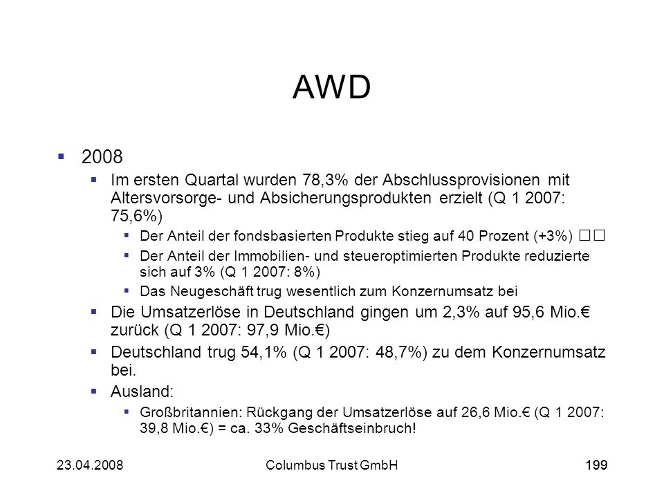 19923.04.2008Columbus Trust GmbH199 AWD 2008 Im ersten Quartal wurden 78,3% der Abschlussprovisionen mit Altersvorsorge- und Absicherungsprodukten erz
