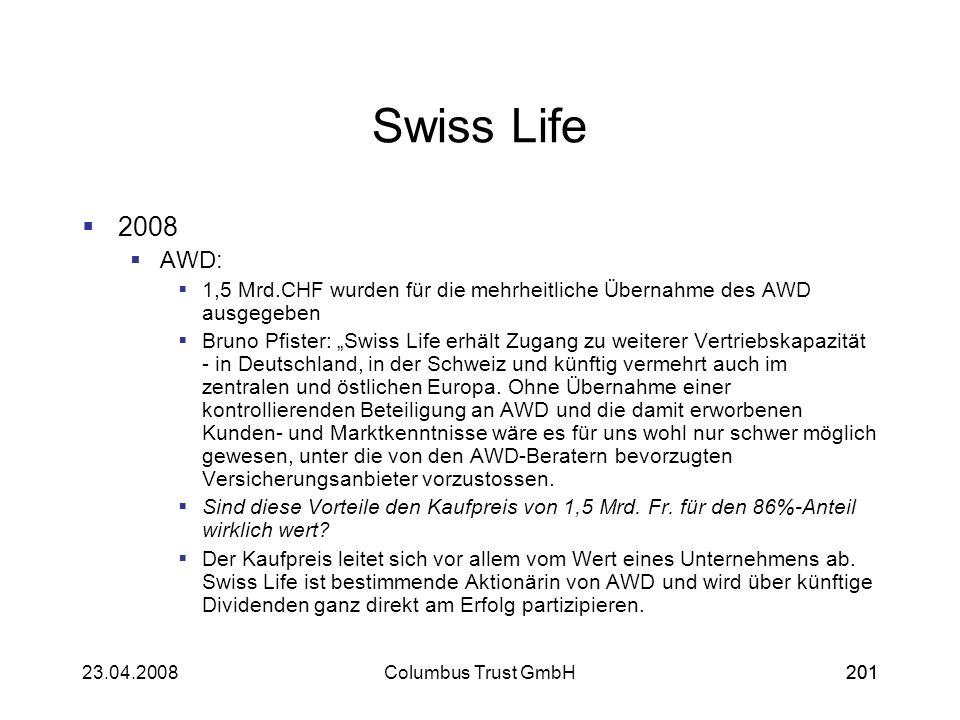 20123.04.2008Columbus Trust GmbH201 Swiss Life 2008 AWD: 1,5 Mrd.CHF wurden für die mehrheitliche Übernahme des AWD ausgegeben Bruno Pfister: Swiss Li