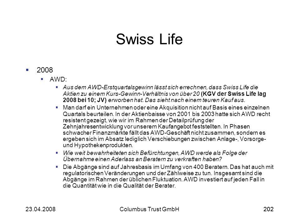 20223.04.2008Columbus Trust GmbH202 Swiss Life 2008 AWD: Aus dem AWD-Erstquartalsgewinn lässt sich errechnen, dass Swiss Life die Aktien zu einem Kurs