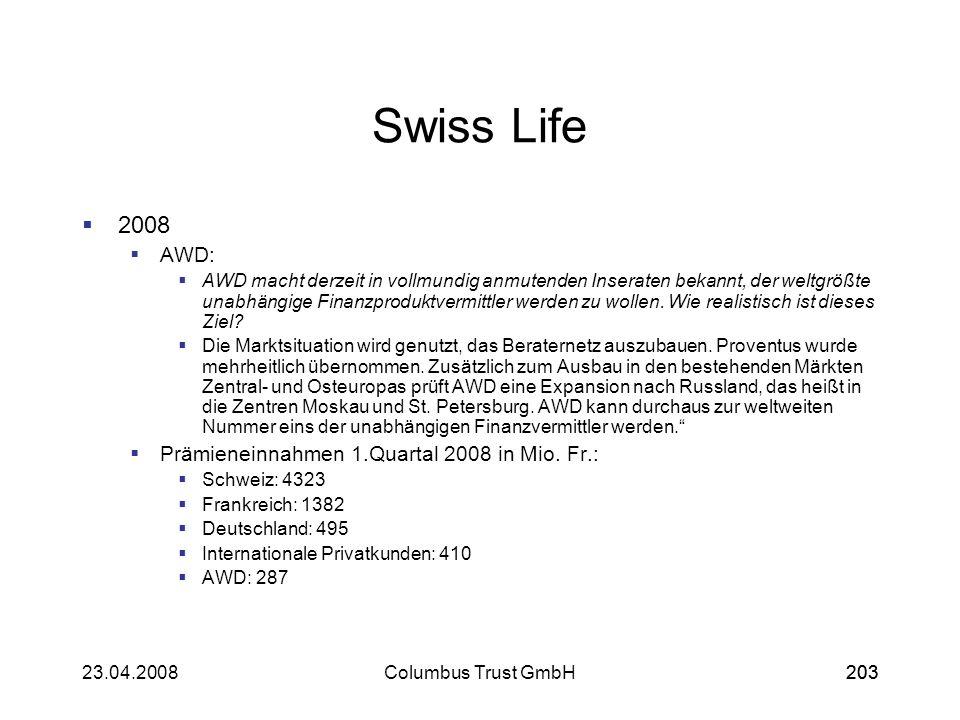 20323.04.2008Columbus Trust GmbH203 Swiss Life 2008 AWD: AWD macht derzeit in vollmundig anmutenden Inseraten bekannt, der weltgrößte unabhängige Fina