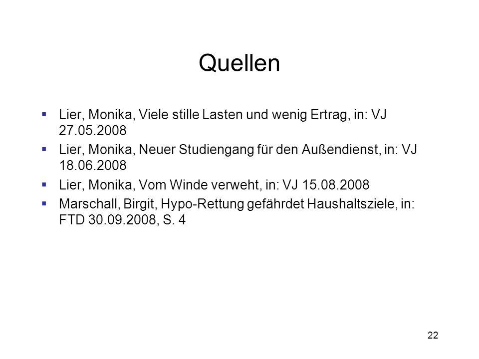 22 Quellen Lier, Monika, Viele stille Lasten und wenig Ertrag, in: VJ 27.05.2008 Lier, Monika, Neuer Studiengang für den Außendienst, in: VJ 18.06.200