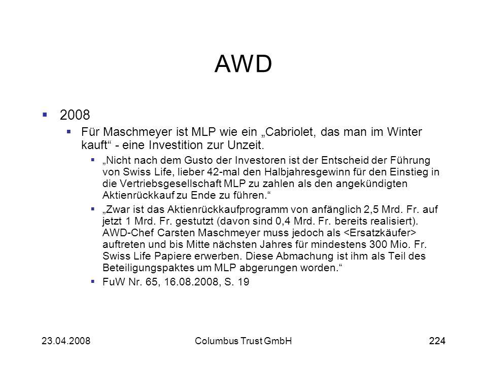 22423.04.2008Columbus Trust GmbH224 AWD 2008 Für Maschmeyer ist MLP wie ein Cabriolet, das man im Winter kauft - eine Investition zur Unzeit. Nicht na