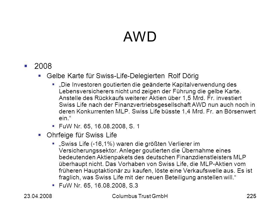 22523.04.2008Columbus Trust GmbH225 AWD 2008 Gelbe Karte für Swiss-Life-Delegierten Rolf Dörig Die Investoren goutierten die geänderte Kapitalverwendu