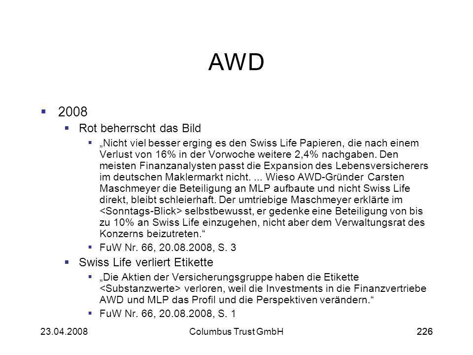 22623.04.2008Columbus Trust GmbH226 AWD 2008 Rot beherrscht das Bild Nicht viel besser erging es den Swiss Life Papieren, die nach einem Verlust von 1