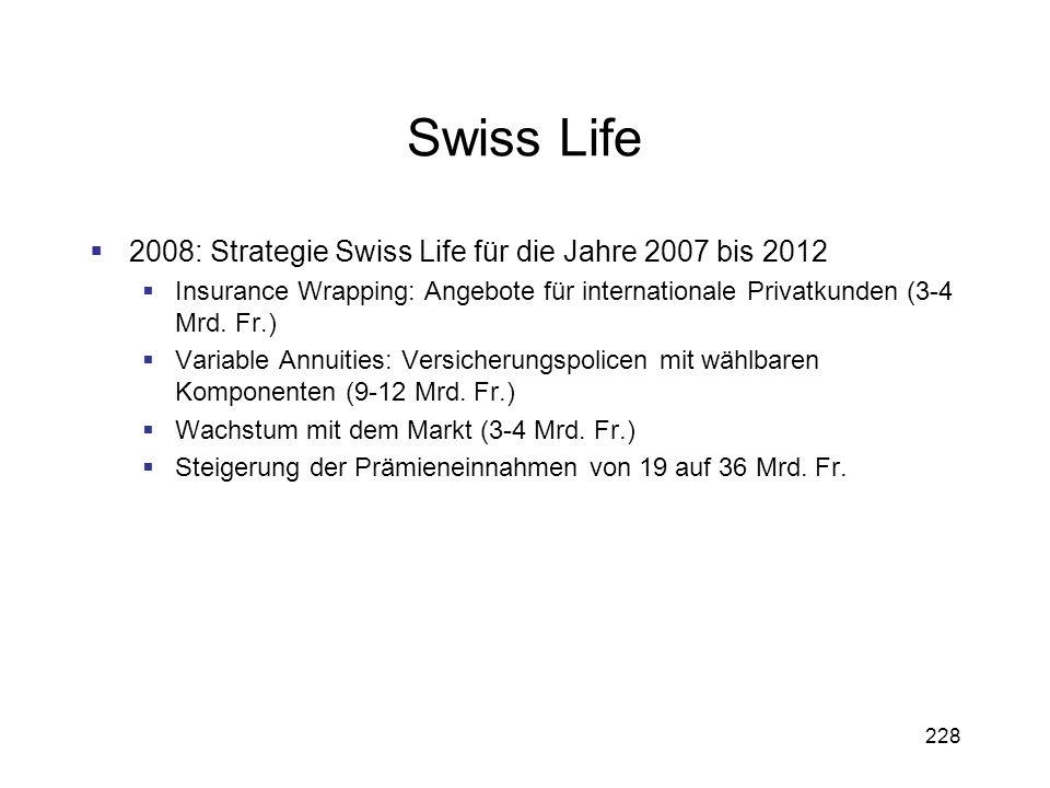 228 Swiss Life 2008: Strategie Swiss Life für die Jahre 2007 bis 2012 Insurance Wrapping: Angebote für internationale Privatkunden (3-4 Mrd. Fr.) Vari
