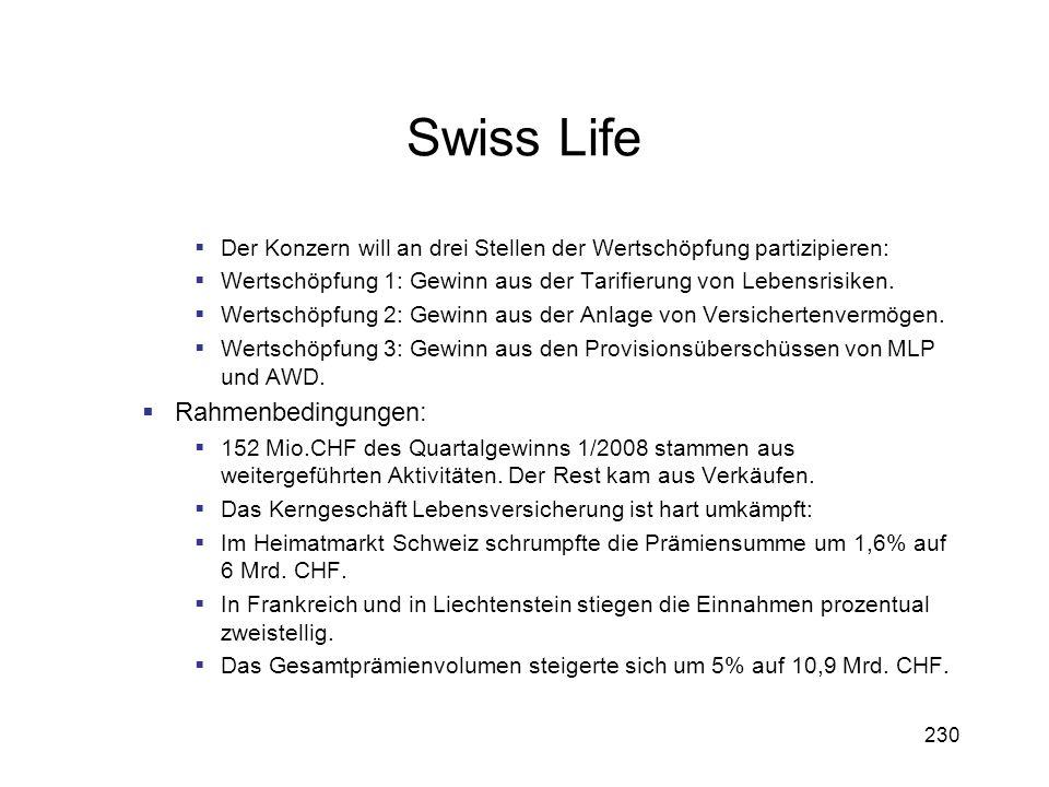 230 Swiss Life Der Konzern will an drei Stellen der Wertschöpfung partizipieren: Wertschöpfung 1: Gewinn aus der Tarifierung von Lebensrisiken. Wertsc