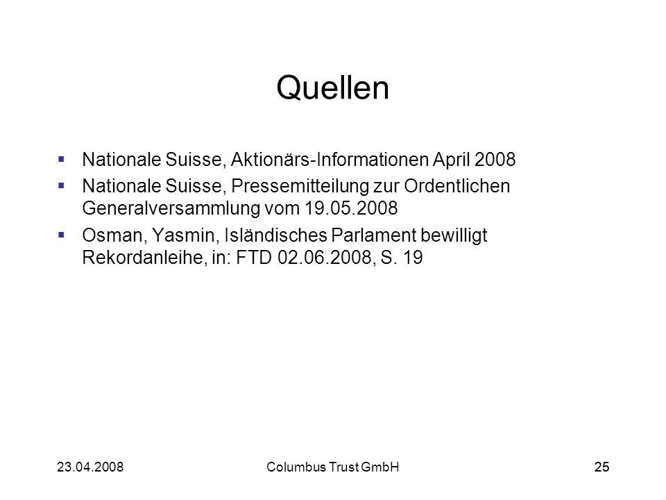 2523.04.2008Columbus Trust GmbH25 Quellen Nationale Suisse, Aktionärs-Informationen April 2008 Nationale Suisse, Pressemitteilung zur Ordentlichen Gen